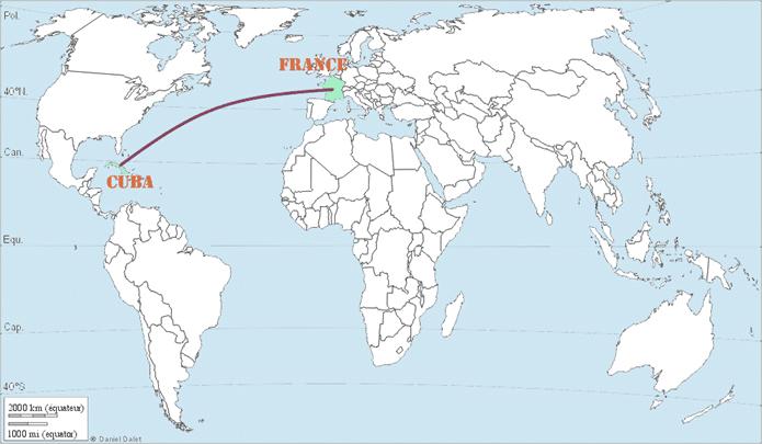 Carte de Cuba dans le monde