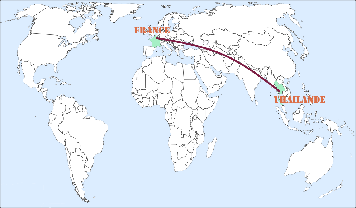 carte monde Thaïlande France