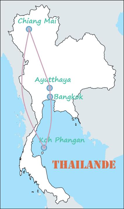Carte itinéraire Thaïlande