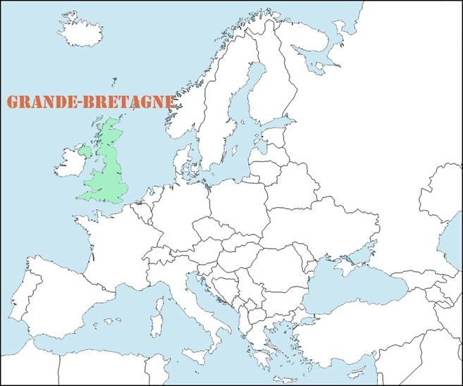 Carte Europe Grande bretagne